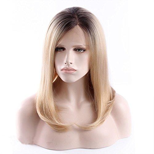 royalvirgin natürlicher Haaransatz Bouncy Layered Ombre Honig Blond Kurz Braun Wurzeln seidig gerade hitzebeständiges Synthetikhaar Lace Front Perücken Synthetische Ganzen Lace Perücke