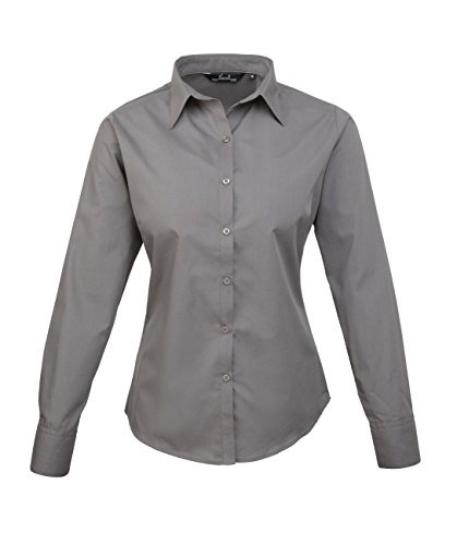 PW300 Ladies Poplin Long Sleeve Shirt (Damenbluse/Langarm) Dark Grey