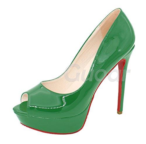 Guoar High Heels Damenchuhe Klassik Peep-Toe Rutsch Mehrfarbe Lack Plateau Pumps Party Hochzeit Grün