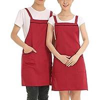Haosen 78x60cm 100% Poliestere Grembiule da Cucina BBQ Grembiule Grembiule da cuoco Supermercato Grembiuli eccetera - antivegetativa durevole e stile semplice (Rosso)