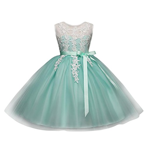 JERFER Kinder Kid Infant Mädchen Stickerei Blumendruck Backless PrincessTutu Kleid