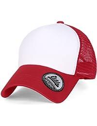 ililily Plain Baseball Cap Simple Mesh Snapback Color Trucker Hat