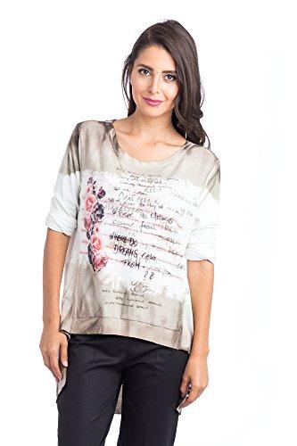 Abbino d16cm16S Chemisiers Blouses Tops Femmes Filles - Fabriqué en Italie - 5 Couleurs - Été Automne Hiver Plaine Chemises 3/4 le Veste Fleuri Vintage Classique Casual - Taille Unique (38-42) Boue Marron