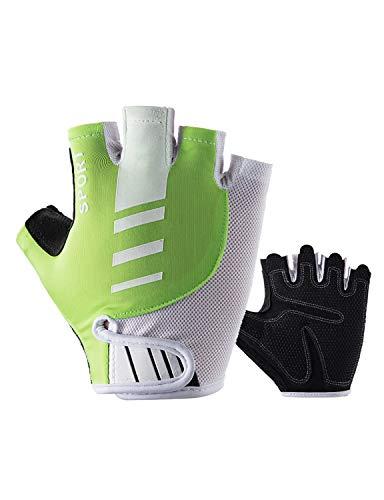 WYSTAO Halbfingerhandschuhe Ice Silk atmungsaktiv und schnell trocknend persönlichkeit Mode reithandschuhe Bergsteigen Angeln Rutschfeste männer und Frauen grüne Handschuhe (Farbe : M)
