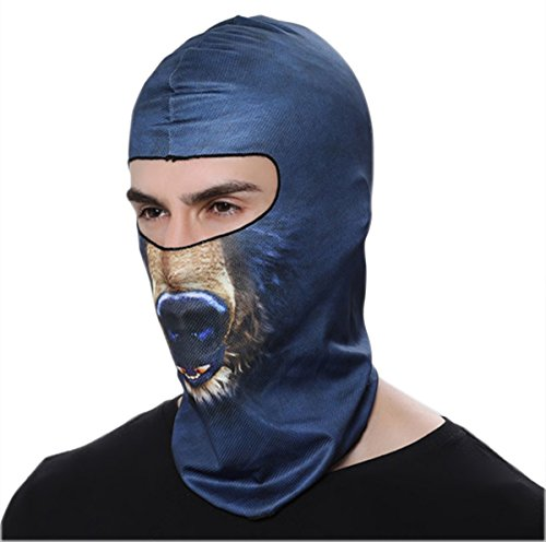 Animal Face 3D Print Ski Balaclava Full Face Mask Protects From Wind,Sun,Dust Cycling Motorcycle Mask