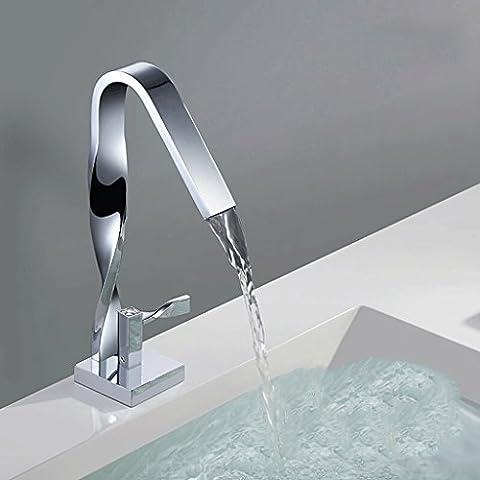 QZz Grifos de lavabo Toda la torcedura de cobre caliente y frío de la manera del canalón del grifo del lavabo Grifos Cuenca ( Color : Chrome )