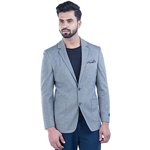 Smokestack Solid Single Breasted Casual Men's Blazer (Grey)  available at amazon for Rs.2499