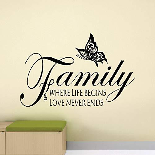Modeganqingg la vita inizia e ama la famiglia non finirà mai decalcomanie da muro logo casa rimovibile adesivo in vinile nero 91x57 cm