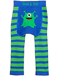 Lame et Rose Motif Monster Leggings. 0-2 ans Bleu & vert.