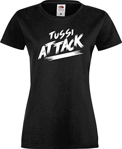 Shirtinstyle Lady T-Shirt Tussi Attack,schwarz, S