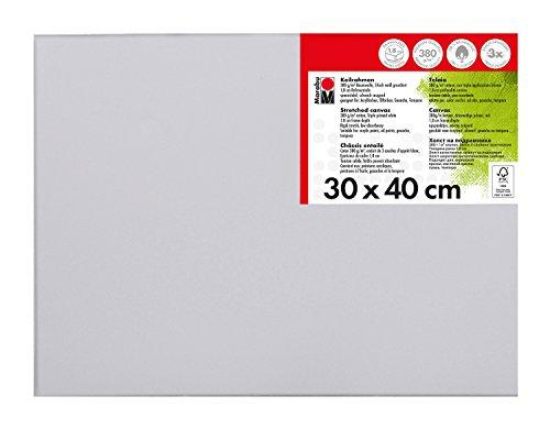 Marabu 1616000000301 - Keilrahmen, mit 380 g/qm Baumwolle bespannt, 3 fach grundiert, leicht saugend, für Acryl-, Öl-, Gouache- und Temperafarben, ca. 30 x 40 cm, Rahmentiefe ca. 1,8 cm, weiß - Fach 30x30