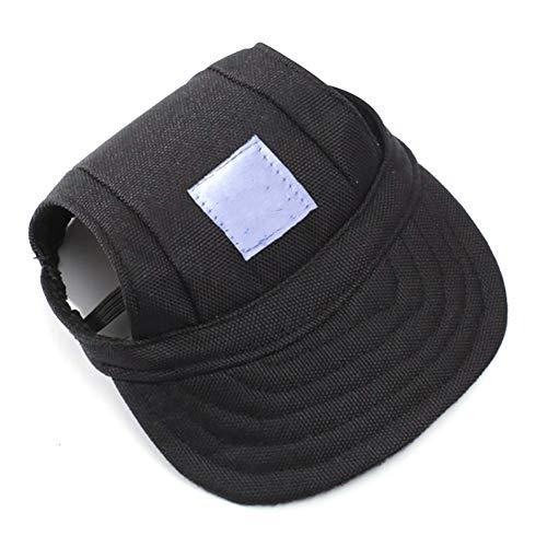 AAGOOD Sommer-Haustier-Hund kappt Kühle reizenden kleinen Pet Canvas Cap Baseball-Masken-Hut im Freien Sunbonnet Kappe für Hund L Schwarz