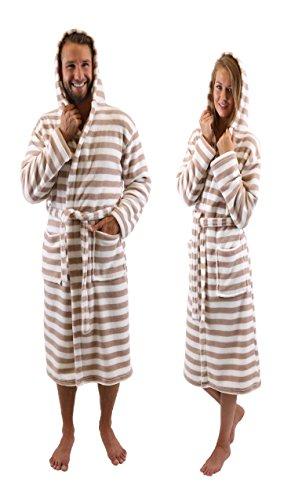 Betz Albornoz Bata de baño Sauna con Capucha para Mujeres y Hombres ROM de Color marrón-Blanco Tamaño...