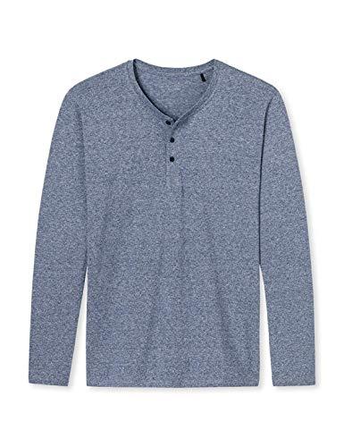 Schiesser Herren Langarmshirt Knopfleiste Shirt 1/1, Blau (Dunkelblau-Mel. 818), XXL