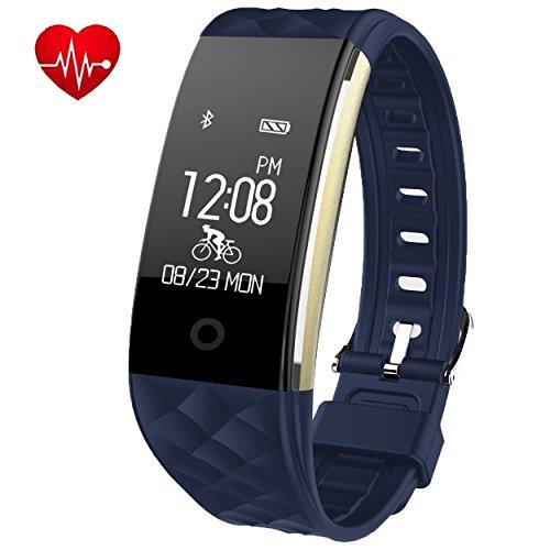 Foto de Brazalete de fitness con pulsómetro efoshm resistente al agua IP67Fitness Tracker Watch Actividad podómetro reloj con dormir Monitor contador de calorías, vibración Alarma llamada SMS WhatsApp para Android IOS, color azul