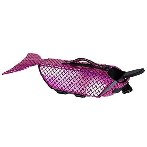 LvRao Hund Haustier Schwimmweste Rettungsweste Wassersport mit Griff Meerjungfrau Kostüm Schwimmmantel (Rose, L)