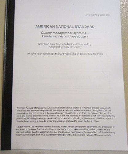 ANSI-ISO-ASQ Q9000-2000 Quality Management Systems gebraucht kaufen  Wird an jeden Ort in Deutschland