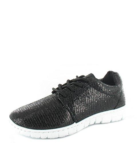 New Damen Running Turnschuhe Glitzer Fitness Gym Sport Lace up Schuhe Größe Schwarz