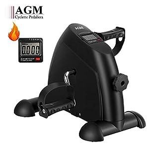 41a3joGub7L. SS300 AGM Mini Cyclette da Casa, Pedaliera Cyclette Fitness per Braccia e Gambe Pedaliera Regolabile Digitale Mani e Piedi…