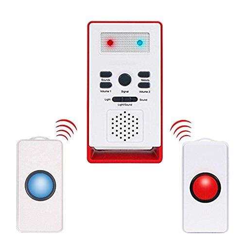 Cuidador personal inteligente inalámbrico, sistema de emergencia con botón de llamada de alarma para personas mayores (2en 1)