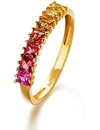 a40470125fe3 Anyeda Joyería Mujeres Anillo 18K Gold Anillo Bloque Diamante Cómodo para  La Boda