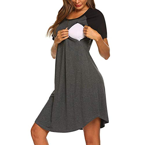Damen Still Kleid Damen Stillnachthemd für Damen Kurzarm Sommerkleid für Schwangere Stillkleid Heligen Umstandsmode Nachtwäsche Sleepshirt Sommer Mutterschaft Kleid