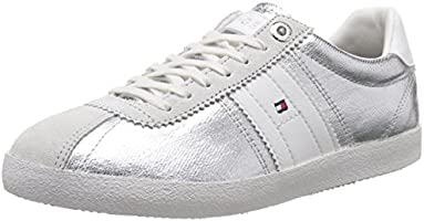 Tommy Hilfiger Women's L1285IZZIE 1D1 Low-Top Sneakers Silver Size: 5