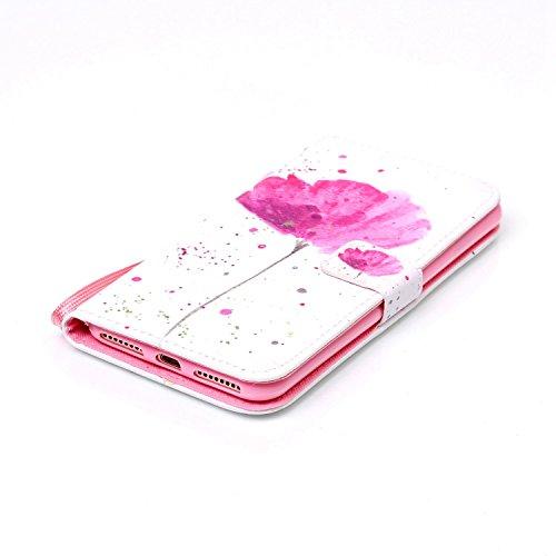 Custodia per Apple iPhone 7, TOCASO Flip Wallet Case PU Pelle [Strap/Lanyard] Caso per Apple iPhone 7 Portafoglio Cover Ultra Sottile Leather Protettivo Cases Covers Shell ID Carta Slots Caso Guscio C Fiore