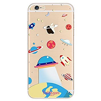Bubblegum® für iPhone Modelle Raumschiffe Fall Collection - TPU Schutzhülle Soft Gel Artistic Schutzhülle (iPhone 4 4S, 7: Spaceman Big), 5: UFO on Earth, iPhone 7 Plus/iPhone 8 Plus (4 Iphone Fall Homer)
