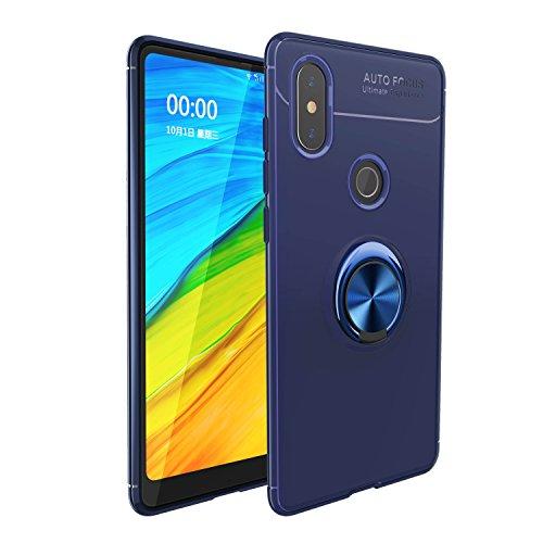 TANYO Xiaomi Mi Mix 2S Arandela de Dedo con Forma de Dedo y Soporte Magnético para Automóvil Carcasa de TPU Suave y Soporte Giratorio de 360 °2 en 1 para Funda Xiaomi Mi Mix 2S Azul