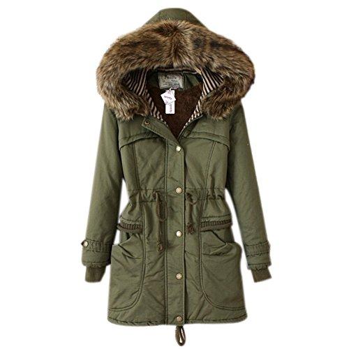 iPretty Wintermantel Damen mit Kapuzen Parka verdickte Winterjacke damen Steppmantel Herbst Winter Trenchcoat Outerwear