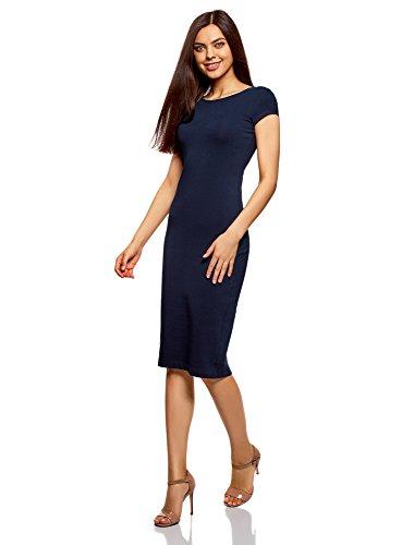 oodji Collection Damen Midi-Kleid mit Ausschnitt am Rücken Blau (7900N)
