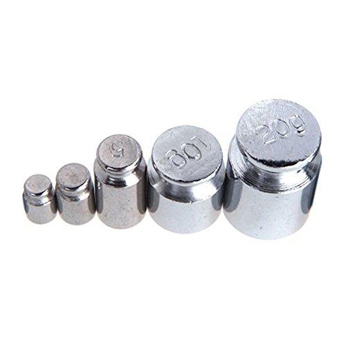 SODIAL(R)Gewicht Set 1G 2G 5g 10g 20g Chrome Plating Kalibrierung Gramm Gewichtsstein Gewichtssatz fuer Digital Waage Silber weiss