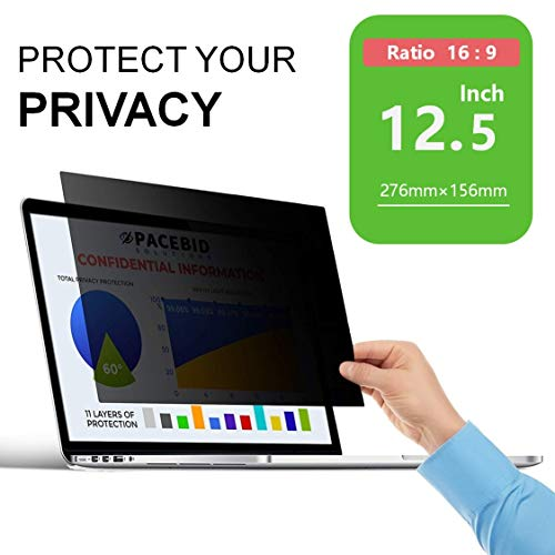 PaceBid Filtro de Privacidad Premium, Privacy Screen Filter, Gold Anti-Spy Privacy Screen Filter, Protector de Pantalla para Ordenador Portátil (12.5' 16:9)