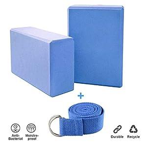 Creation 2er Set Yoga Blöcke/Yogablock/Yoga-Block mit 1 Stück Yogagurt für Blockaden Training Dehnübungen Anfänger und Fortgeschrittene (Rosa)
