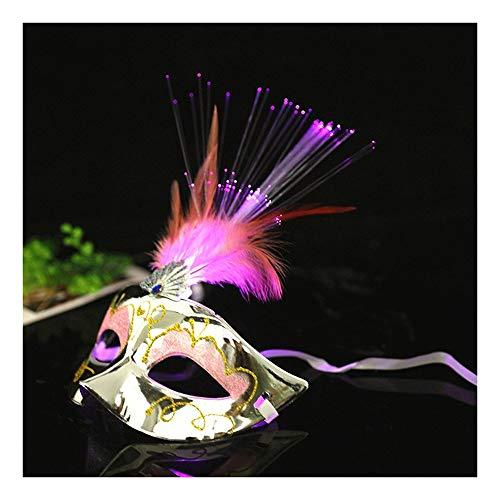 SCLMJ Halloween-Partei-Masken-Feder-Dekorations-Leuchtende Halbe Gesichtsmaske-Maske Für Maskerade, Silbrig