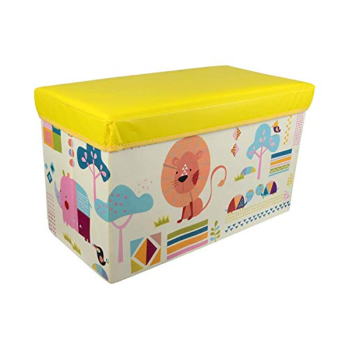 Baby Grow Children Storage Box Folding Stool Under Lid Padded Seat Large (Yellow)