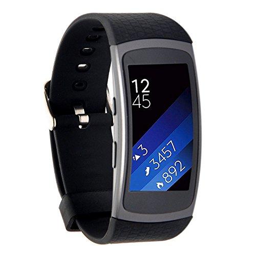 Greatfine Smartwatch Strap Uhrenarmbänder Ersatz-Armband für Samsung Gear FIT2 fit 2 SM-R360 Smart Watch Zubehör (Black)