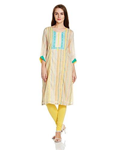 Rangriti Women's Straight Kurta (RMMNEON GLO1245_Yellow_38)