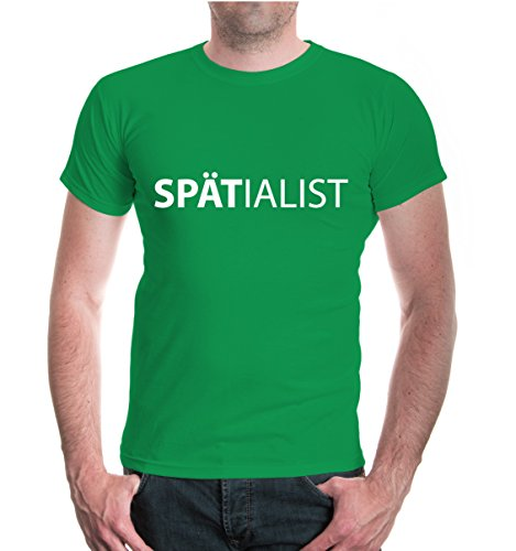 buXsbaum® T-Shirt SPÄTialist Kellygreen-White