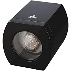 CHIYODA Cajas Giratorias para 1 Relojes con Motor Silencioso y 12 Modos de Rotación (Black Piano Lacquer)