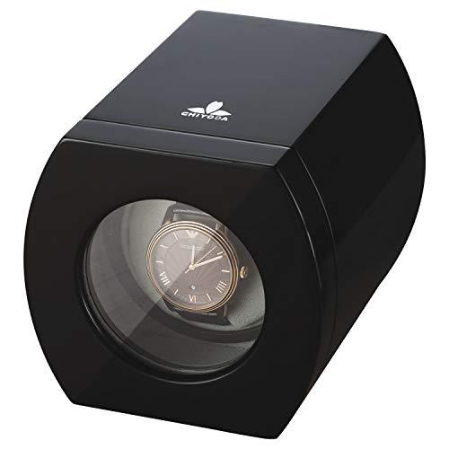 CHIYODA Uhrenbeweger 1 Uhren Automatische Drehende Hölzerne Selbstaufziehende Uhrenbeweger für Automatische Uhren Super Leiser Motor 12 Modus