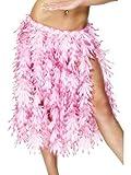 Fancy Ole - Kostüm Accessoires Zubehör Langer hawaiianischer Damen Frauen Hula Rock mit elastischem Bund und Feder Look, perfekt für Karneval, Fasching und Fastnacht, Rosa