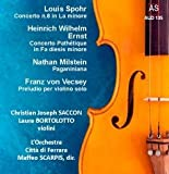 "Louis SPOHR (1784-1859) Violin Concerto No. 8 in A minor, Op. 47 ""In Form einer Gesangsszene"" (""In the form of a vocal scene"") (1816) [21:42] Franz von VECSEY (1893-1935) Prelude for solo violin (1914) [3:54] Heinrich Wilhelm ERNST (1814-1865) Concerto in F sharp minor Op.23 (Concerto Allegro-Pathétique) (published 1850) [19:07] Nathan MILSTEIN (1904-1992) Paganiniana (pub. 1954) [6:44] Laura Bortolotto (violin: Spohr, Vecsey) Christian Joseph Saccon (violin: Ernst, Milstein) L'Orchestra Città di Ferrara/Maffeo Scarpis"