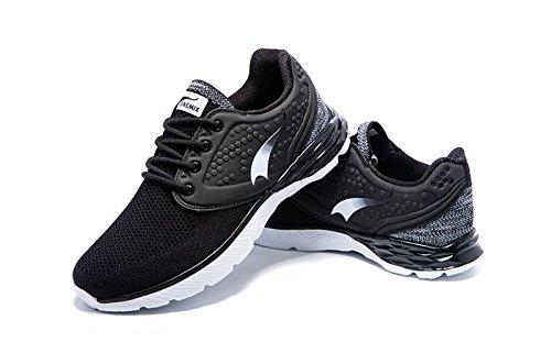 Onemix Retro Running Schuhe Herren Atmungsaktiv Tennisschuhe Turnschuhe Sportlich Freizeitschuhe Sneakers Mit Dämpfung,Gr 39-45 Schwarz-Weiss