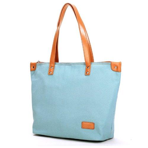 Eshow borsa da viaggio tela fine settimana da donna blu