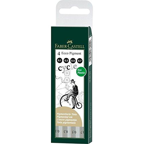 Faber-Castell 166004 - Estuche con 4 rotuladores calibrados ECCO Pigment con grosores de trazo, 0.1, 0.3, 0.5, 0.7, color negro
