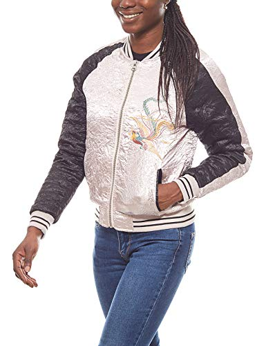 Aniston Damen Satin-College-Jacke Blouson im Asia-Stil Bomberjacke Jacke Rosa, Größenauswahl:40