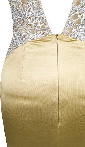 Angel-fashions Femme Entrainer Spaghetti Strap col en V Cour Satin Robe de sirene d'or