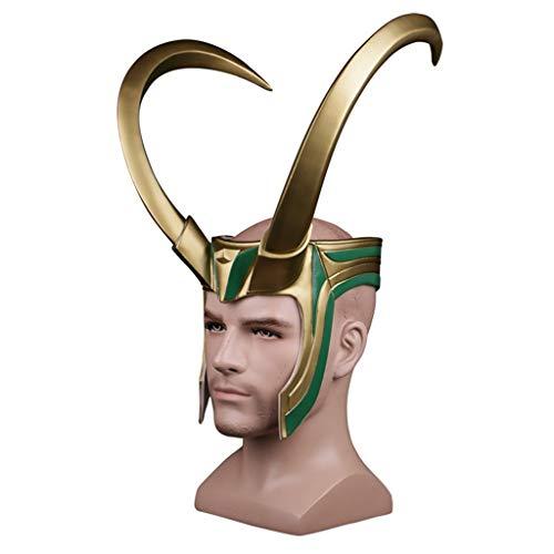 SDKHIN Thor 3 Loki Rocky Helm Maske Halloween Cosplay Maske Halbe Loki Helm Gesicht Golden Giant Horns Helm Hut Maske Requisiten männlich,Gold-OneSize